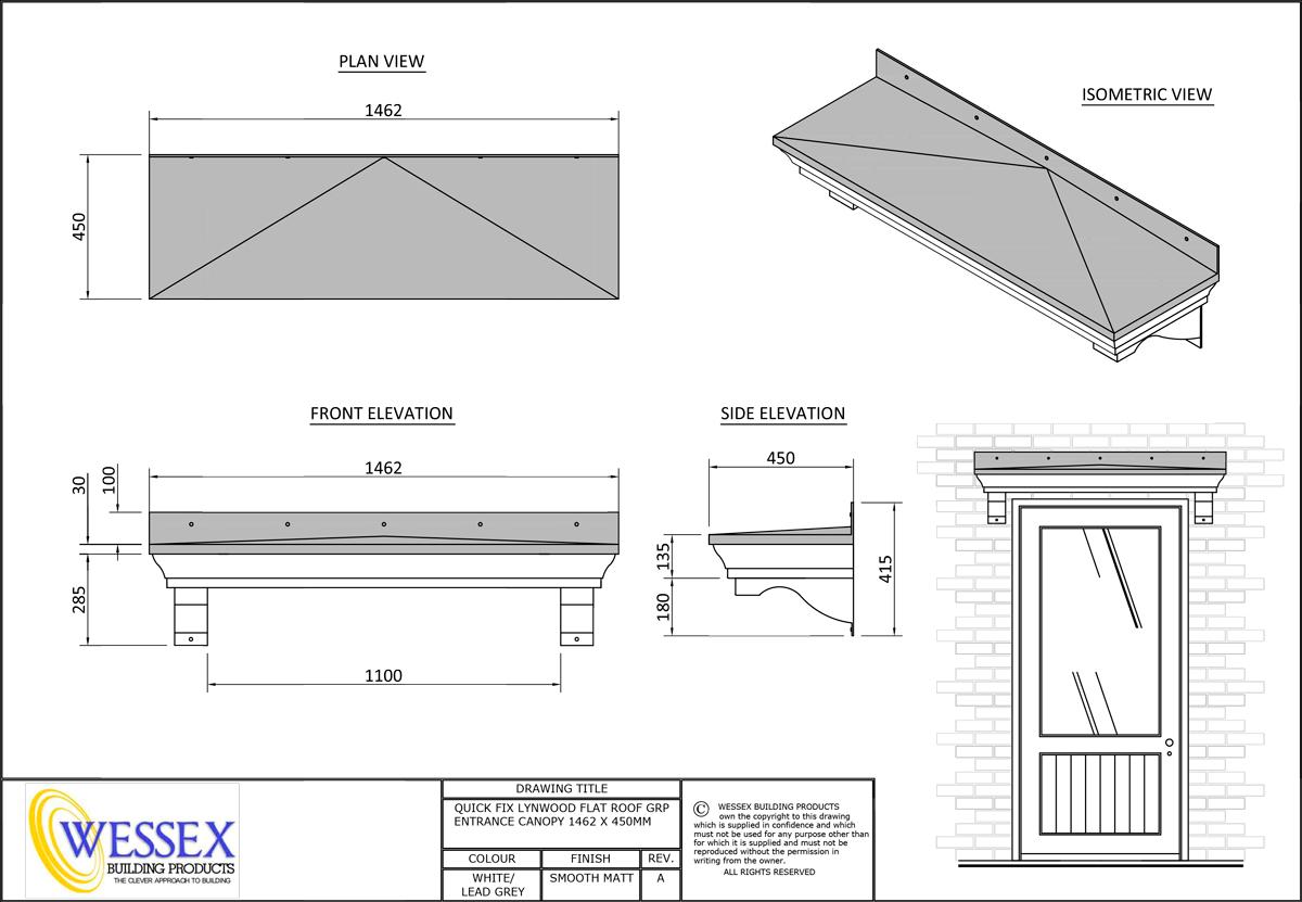 Lynwood 450 Series 1462 Replica Lead Flat Roof Canopies