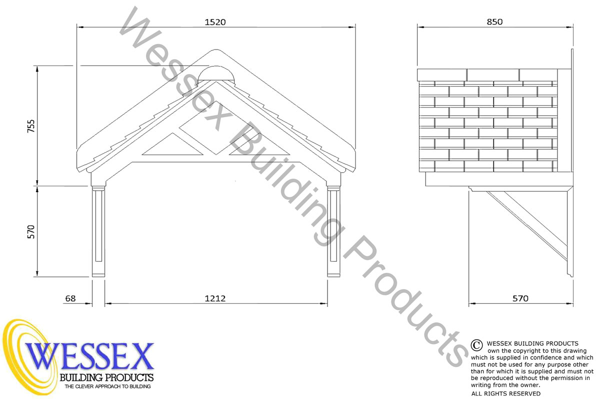 Apex Reproduction Tiled Roof Canopy 800 - WBP10117