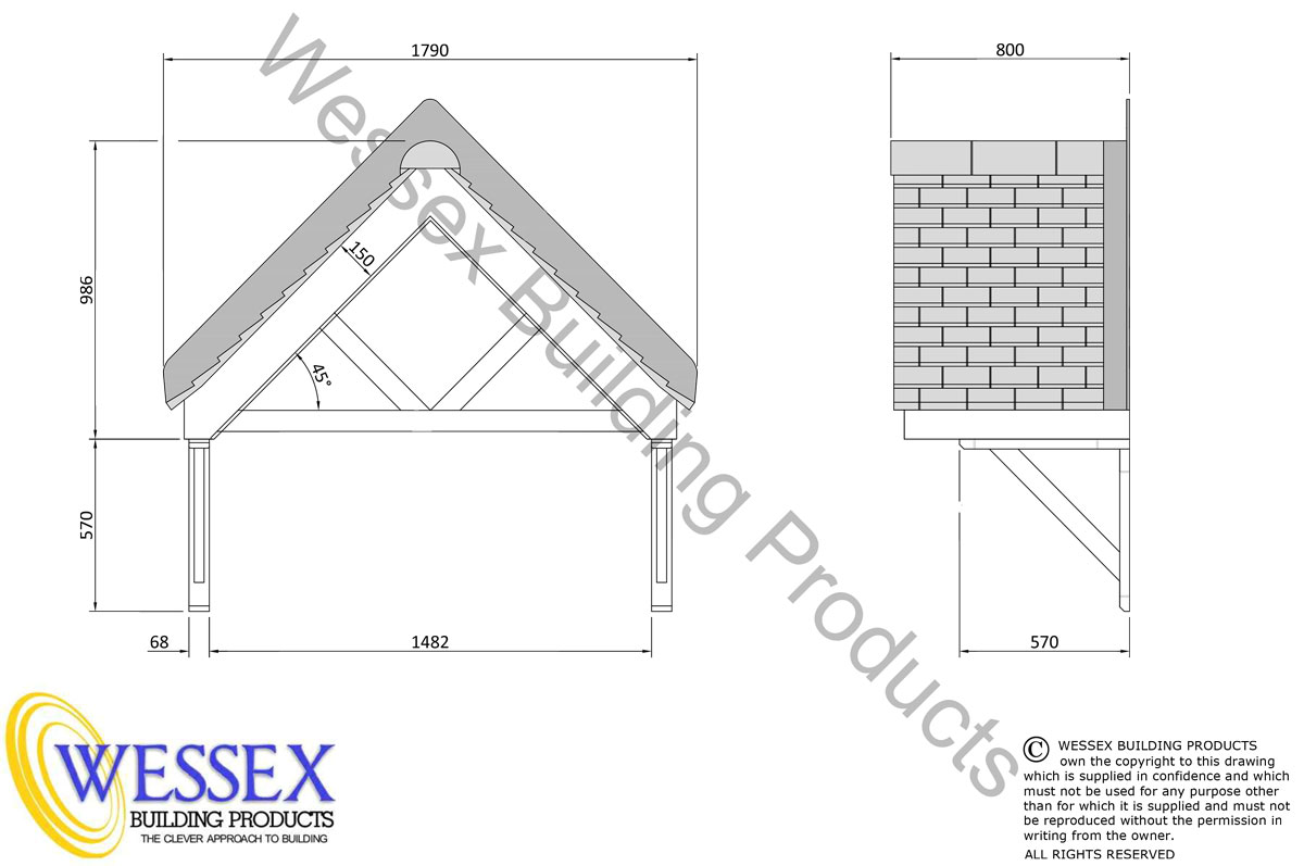 800 Series Warrington Replica Tiled Roof Technical Drawing