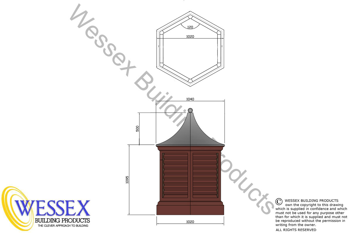 Hexagonal Dovecote Technical Drawing