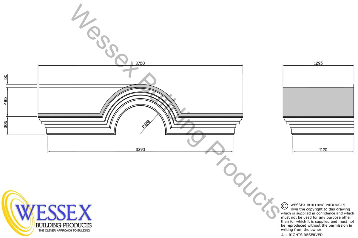 Romsey GRP Portico Technical Drawing