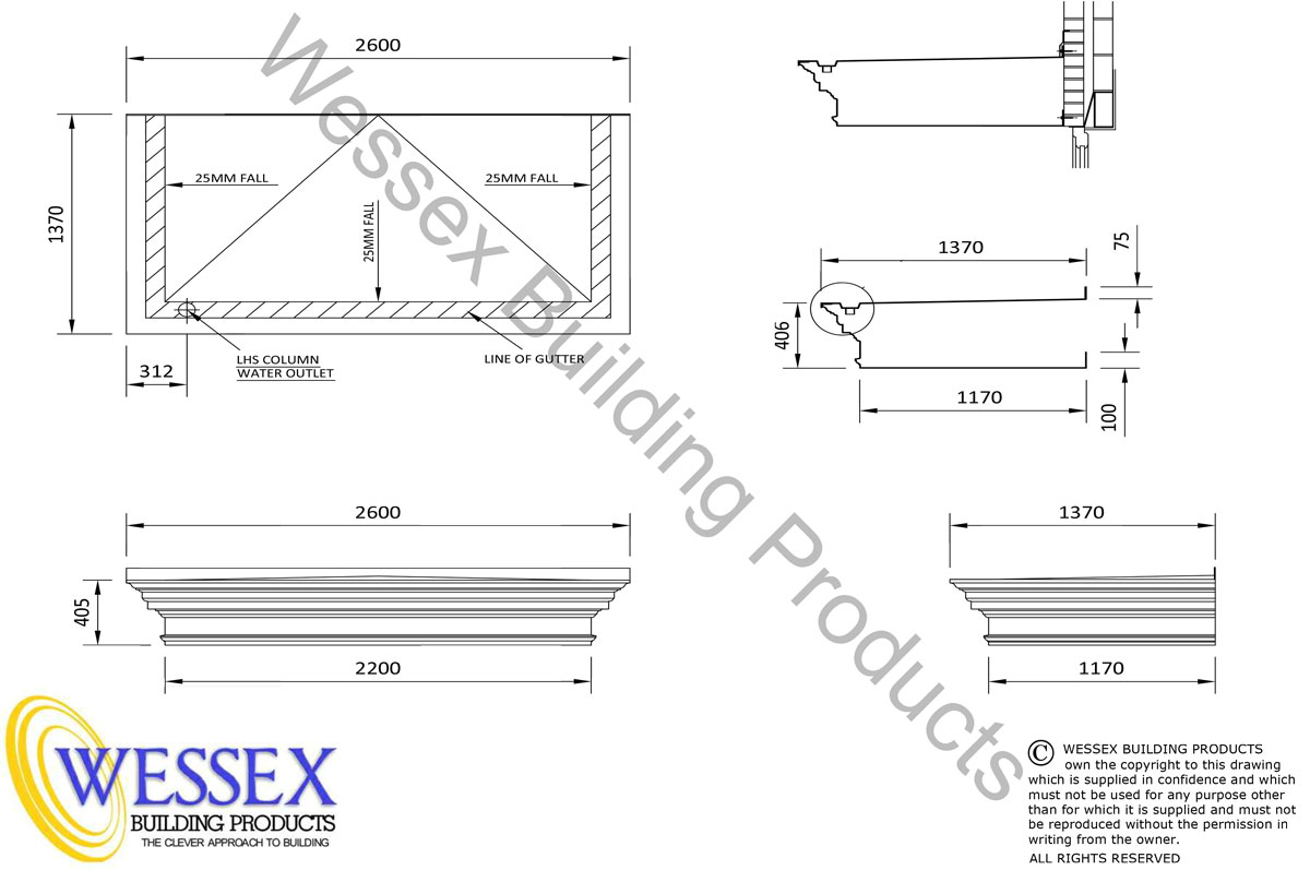 Shaftesbury GRP Portico 2600 Technical Drawing