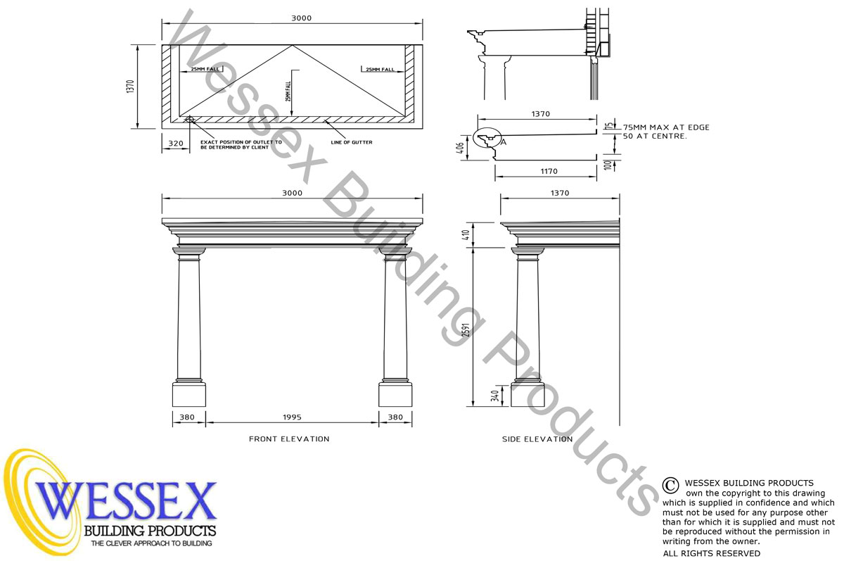 Shaftesbury GRP Portico 3000 Technical Drawing