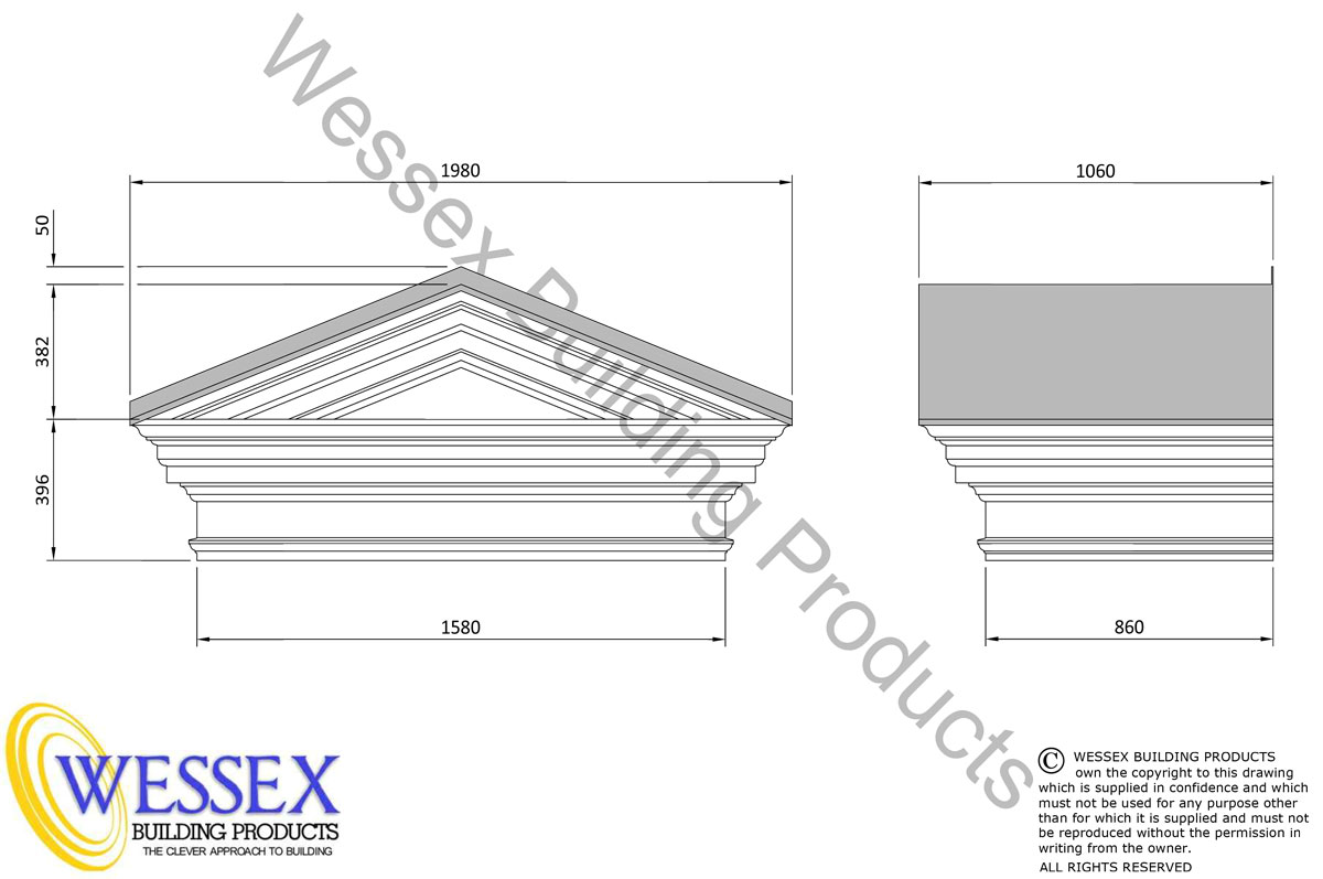 Westminster GRP Portico Technical Drawing