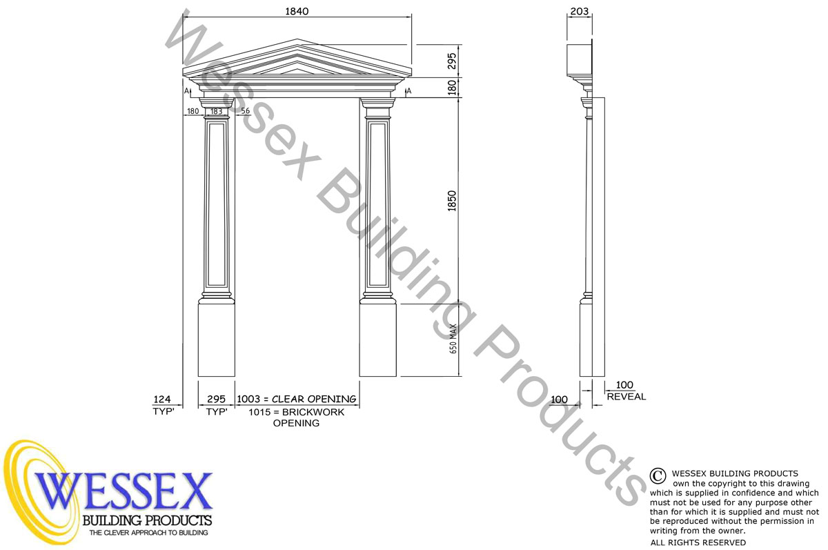 Verwood 1003 Door Surround Technical Drawing